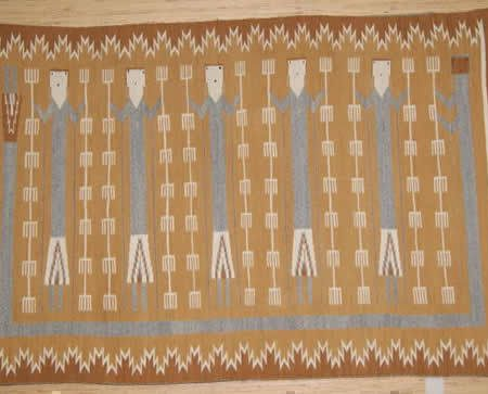 Navajo Rugs for Sale Company Rainbow Guardian Yei Navajo Rug Weaving for Sale NRFSC0038 Image 001