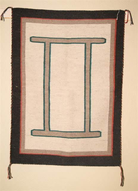 Navajo Rugs for Sale Company Custom Navajo Blanket with Gemini Symbol Navajo Rug Weaving for Sale NRFSC0314 Image 001