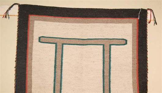 Navajo Rugs for Sale Company Custom Navajo Blanket with Gemini Symbol Navajo Rug Weaving for Sale NRFSC0314 Image 002
