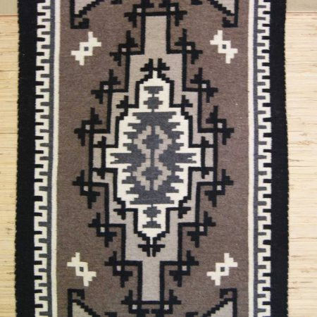 Navajo Rugs for Sale Company Two Grey Hills Modern Navajo Rug Weaving by Corrina Yazzie Circa 1981 for Sale NRFSC0371 Image 001