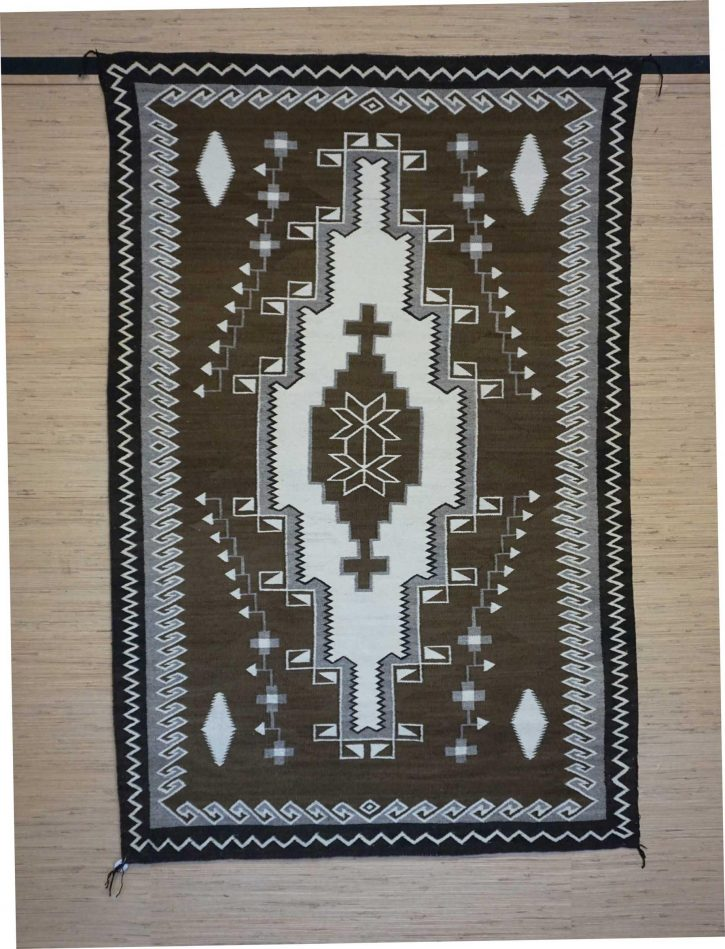 Navajo Rugs for Sale Company Antique 3 Color Natural Colored Large Diamond with Crosses in the Center JB Moore Crystal Navajo Rug Weaving Circa 1940 for Sale NRFSC0881 Image 001