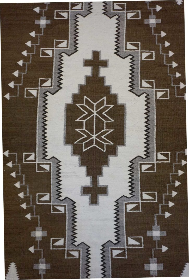 Navajo Rugs for Sale Company Antique 3 Color Natural Colored Large Diamond with Crosses in the Center JB Moore Crystal Navajo Rug Weaving Circa 1940 for Sale NRFSC0881 Image 002