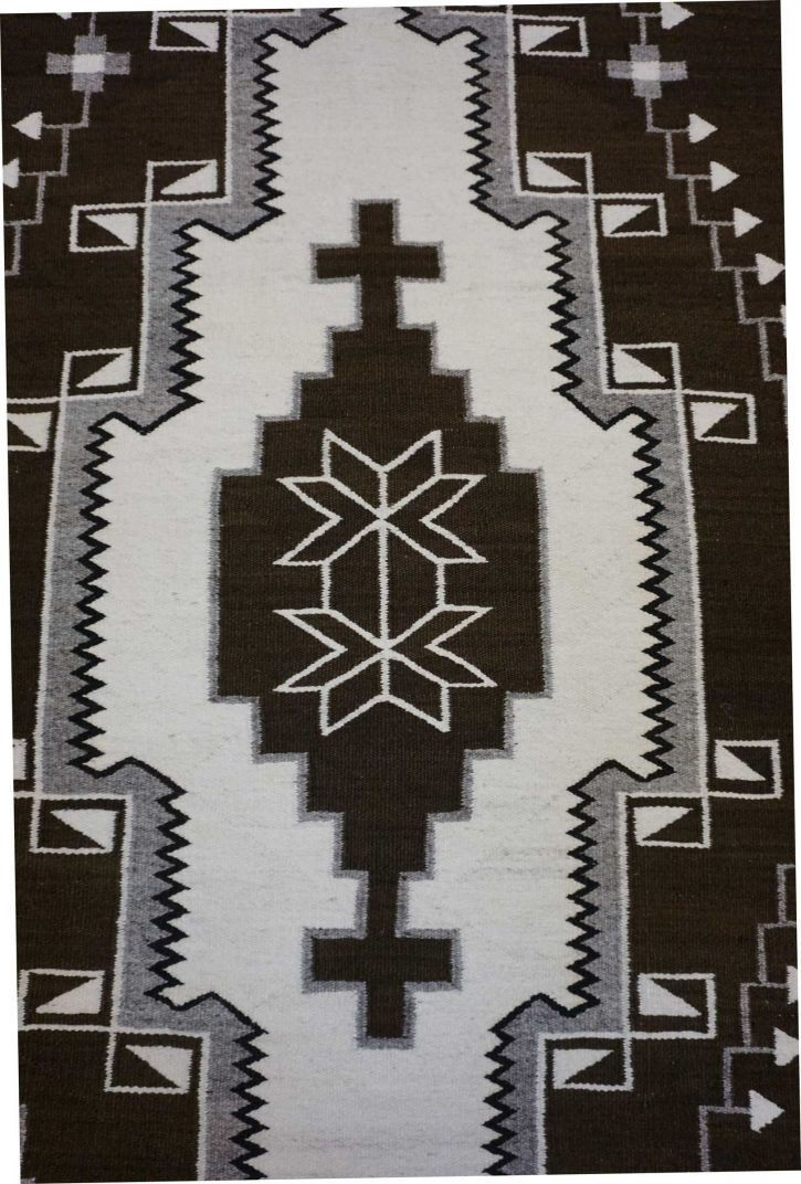 Navajo Rugs for Sale Company Antique 3 Color Natural Colored Large Diamond with Crosses in the Center JB Moore Crystal Navajo Rug Weaving Circa 1940 for Sale NRFSC0881 Image 003