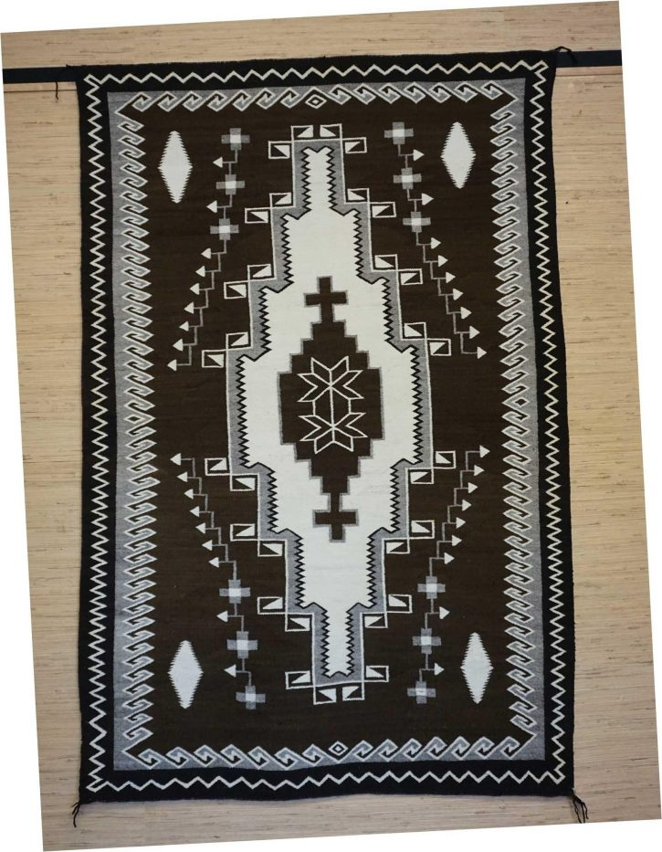 Navajo Rugs for Sale Company Antique 3 Color Natural Colored Large Diamond with Crosses in the Center JB Moore Crystal Navajo Rug Weaving Circa 1940 for Sale NRFSC0881 Image 004