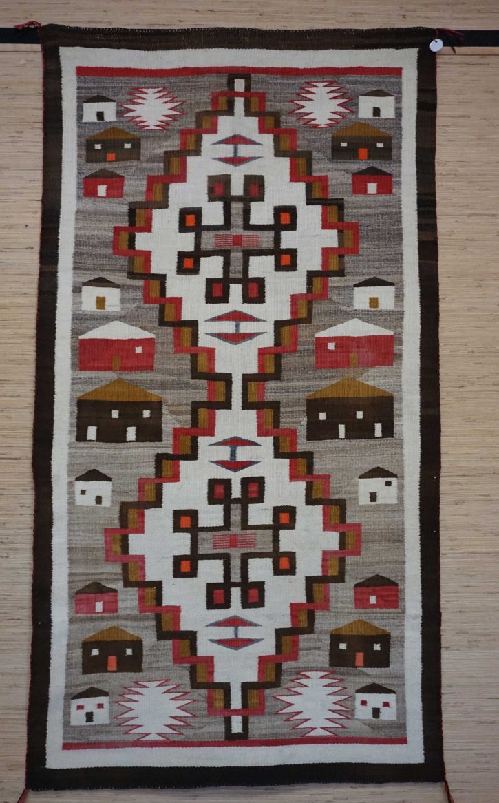 Navajo Rugs for Sale Company Antique Double Diamond House Pictorial Navajo Rug Weaving Circa 1915 for Sale NRFSC0882 Image 001
