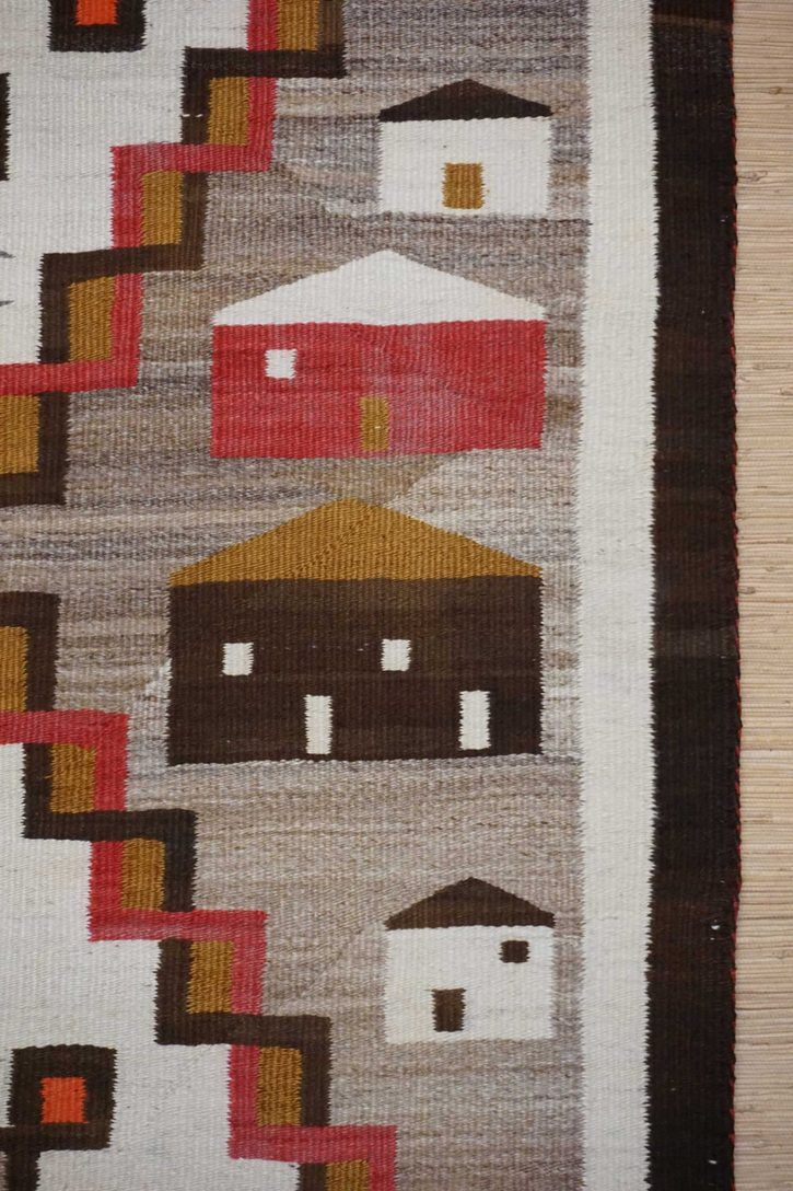 Navajo Rugs for Sale Company Antique Double Diamond House Pictorial Navajo Rug Weaving Circa 1915 for Sale NRFSC0882 Image 002