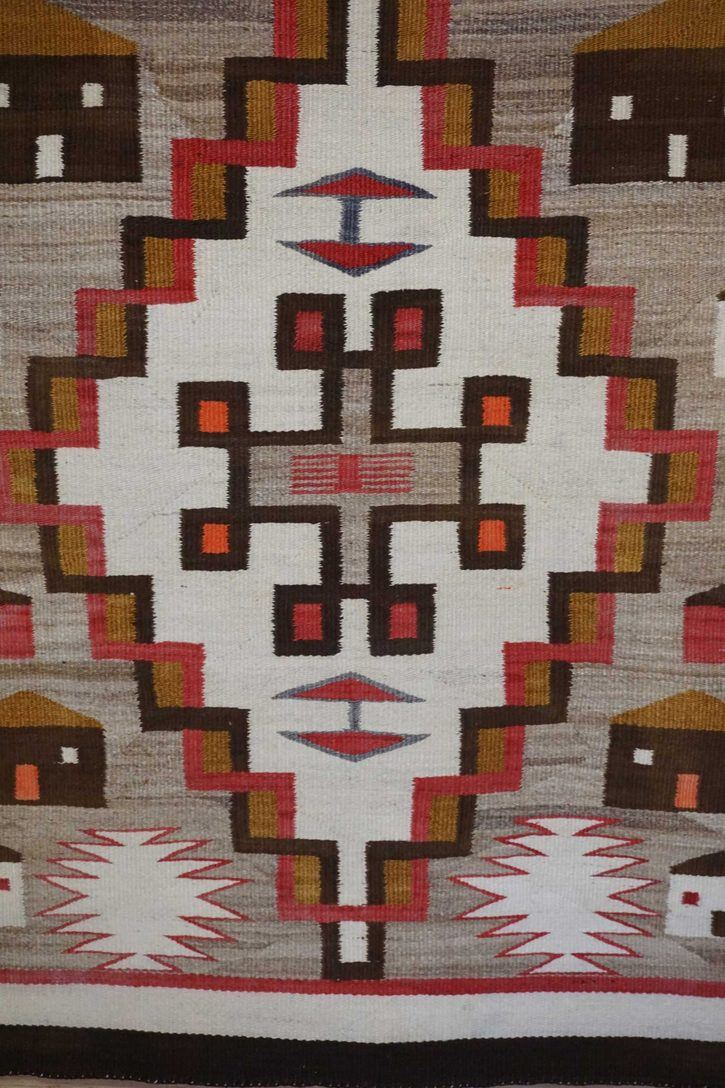 Navajo Rugs for Sale Company Antique Double Diamond House Pictorial Navajo Rug Weaving Circa 1915 for Sale NRFSC0882 Image 005