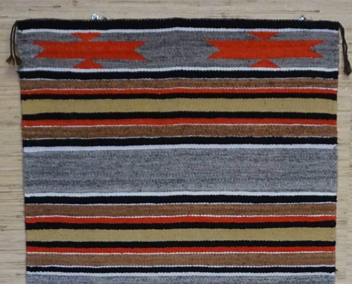 Navajo Rugs for Sale Company Modern Banded Double Saddle Blanket Navajo Rug Weaving Circa 1980 for Sale NRFSC0963 Image 002