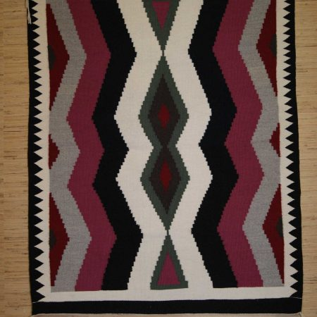 Navajo Rugs for Sale Company Modern Crystal Serrated Lightning Bolt Pattern Navajo Rug Weaving Circa 1990 for Sale NRFSC0755 Image 001